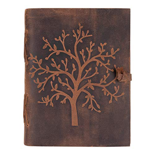 Moonster Cuaderno de Cuero Árbol de la Vida – Diario de Escritura Hecho a Mano – Bloc de Notas para Hombre y Mujer - Papel Blanco Liso 18x13 cm - El Regalo Perfecto para Dibujantes – Diario de Cuero