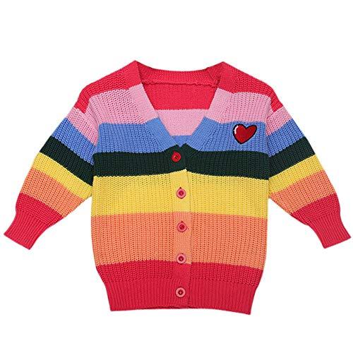 Goosuny Baby Mädchen Strickjacke Langarm Winter Pullover V Neck Ausschnitt Lose Bunt Strickpullis Stricken Sweater Tunika Schöne Warm Grobstrickjacke Oberteile (Rot,110)