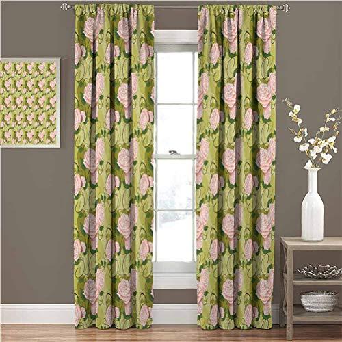 Toopeek - Cortina de flores oscura para habitación (63 x 172 cm), diseño de rosas florecientes con hojas verdes, color verde y verde oliva