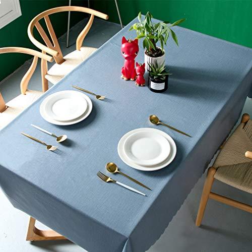 Pahajim Moderno Mantel de PVC Color Liso Mantel Impermeable Mantel Mesa Rectangular Antimanchas Tablecloths para (Azul, Cuadrado,140x140cm, 4 Asientos)