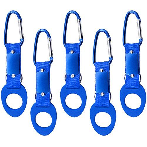 com-four® Porte-Bouteilles en Silicone 5X, Bleu avec Mousqueton et Porte-clés (05 pièces - Bleu)