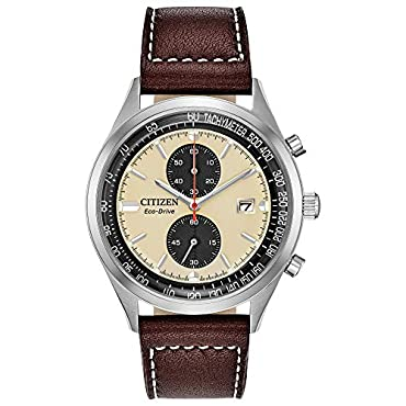 Men's Citizen CA7020-07A Chandler Watch with White Dial and Brown Leather Strap