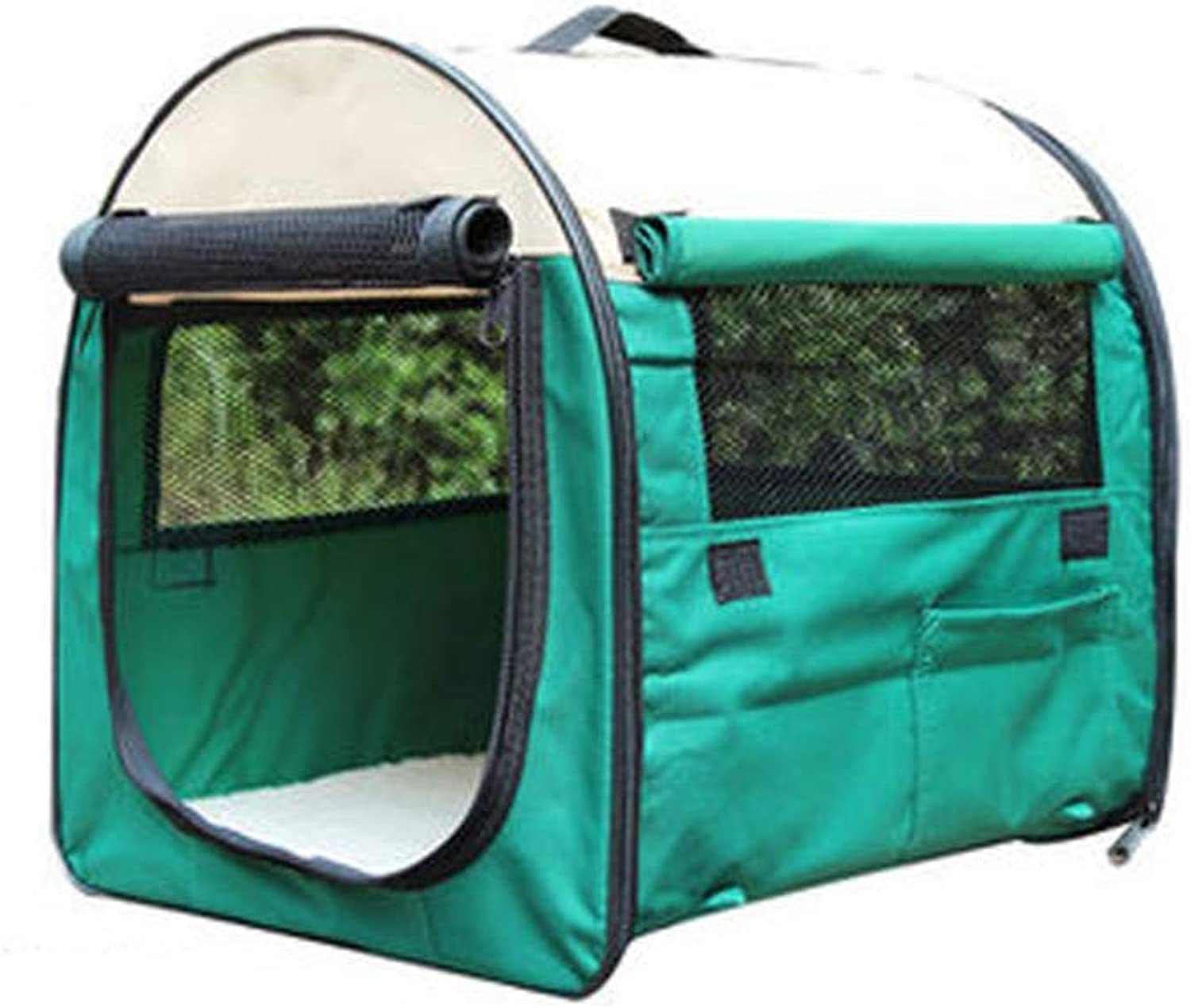 Pet Travel Folding Tent, Pet Kennel Waterproof Oxford Cloth Steel Wire Frame Fleece Mat Surrounding Grid Breathable for Outdoor Hiking Camping,Green,S