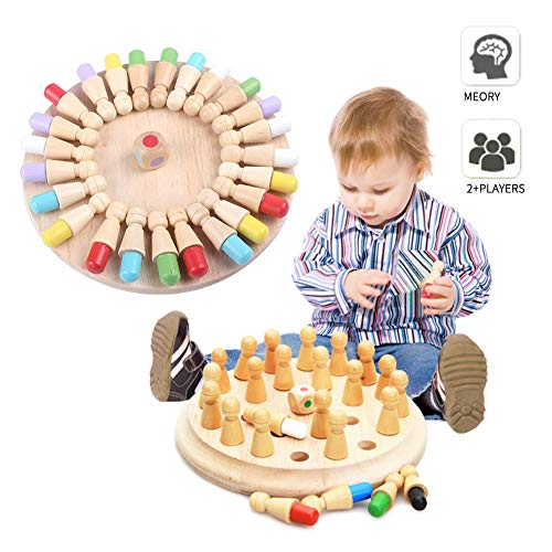 Wooden Memory Match Stick Chess Game Color Memory Chess Funny Block Board GameMemory Match Stick Chess GameParentChild Interaction ToyBrain Teaser for Boys and Girls Age 3 and Up