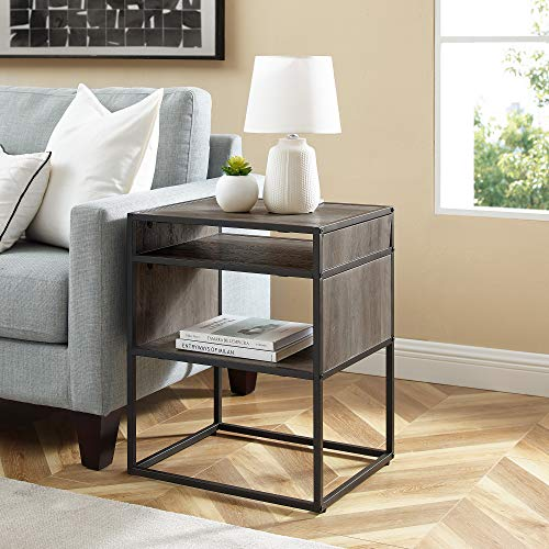 Walker Edison Industrial Modern Metal Frame Wood Rectangle Side Accent Set Living Room Storage Shelf End Table, Grey Wash