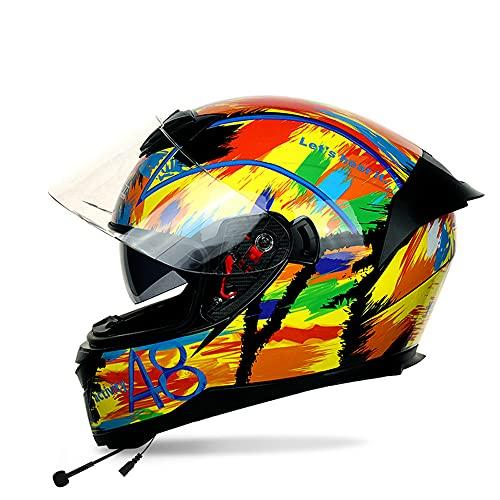 FREEUP Casco Moto Bluetooth Integrado, Casco Integral para Hombres Casco de Motocicleta de señoras con Visera Solar, Ranuras de ventilación Ajustables, Sistema de liberación rápida,Mehrfarbig,L