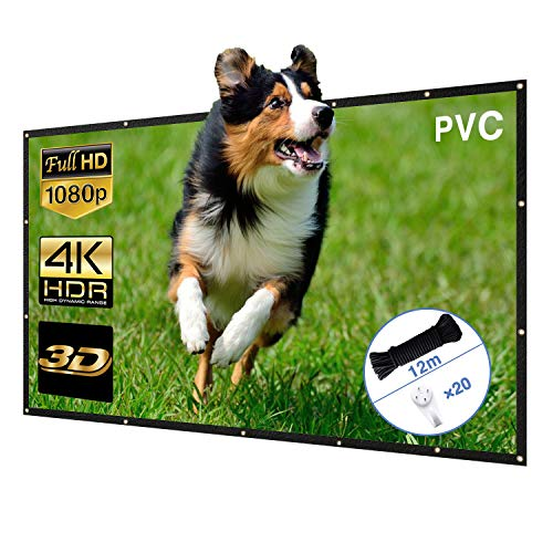 Beamer Leinwand Neues Upgrade PVC Hohe Sättigung Hochwertig Bildqualität 120 Zoll Projector Screen 16 9 4K 3D faltbar Projektor Leinwand 266×150cm