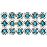 Atyhao 100 Piezas de Diamantes de imitacin Redondos, Anillos de Diamantes de imitacin Redondos Coser Cristales Perlas Tipo Azul Arte DIY botn 10mm para Mujeres