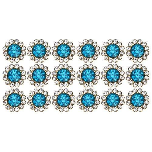 Atyhao 100 Piezas de Diamantes de imitación Redondos, Anillos de Diamantes de imitación Redondos Coser Cristales Perlas Tipo Azul Arte DIY botón 10mm para Mujeres
