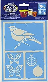 DecoArt Self-Adhesive Glass Series Americana Stencils, 6 by 8-Inch, Fluttery Friends