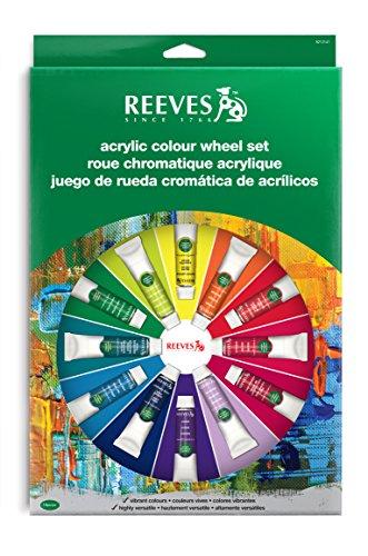 REEVES Farbrad Set 14x10 ml inkl. 2 Universalpinsel und Mischpalette Acrylfarben, Kunststoff, Nicht Zutreffend, 38x25.5x19.7 cm
