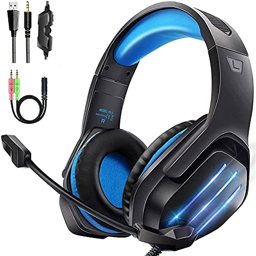Gaming Headset PS4, Xbox One Headset Surround Sound Headphones 3.5mm Jack Over Ear Gaming Headphones with Microphone Blue LED Light Volume Control for PC Laptop Nintendo Switch PS5 (Black Blue)