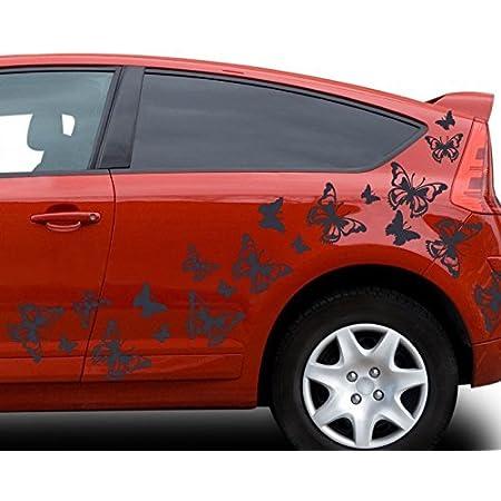 80x Teiliges Set Auto Aufkleber Schmetterlinge Hibiskus Blumen Hawaii Sterne Seitenaufkleber Heckscheibe 2c123 Farbe Schwarz Glanz Ausrichtung Normal Küche Haushalt