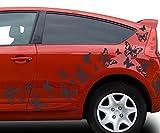 80x teiliges Set Auto Aufkleber Schmetterlinge Hibiskus Blumen Hawaii Sterne Seitenaufkleber Heckscheibe 2C123, Farbe:Schwarz glanz;Ausrichtung:normal
