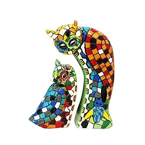 Liffy Adornos de Resina de búho Estilo Mosaico decoración de Mesa decoración de Pared Colgante para Sala de Estar, Dormitorio