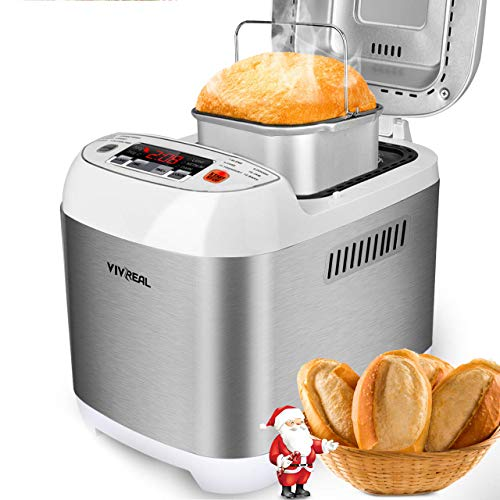 VIVREAL Bread Maker, Automatic Breadmaker Machine 1.5LB, Home Bakery Pro 12 Menus with Gluten Free, 3 Crust Colors 2 Loaf Sizes, 15h Delay Time 1h Keep Warm, Superior Safety ETL Listed Stainless Steel