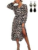 BUOYDM Mujer Elegantes Vestido de Fiesta Cuello V Leopardo Estampado Vestido Casual Manga Larga Irregular de Noche Cóctel Playa Rosa XL