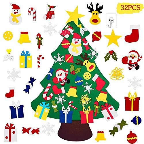 MOOING Feutre Arbre de Noël,Sapin de Noël avec Wall Hooks,3.3ft Sapin de Noël Décoration Vitrine DIY Feutre avec 30 Ornements détachables Cadeaux de Noël pour Les Enfants Noël Décoration