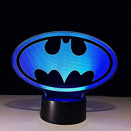 Marvel Hero Batman Mask 3D Logo LED Video Lamp Toch Cool Figure Children's Toys Table Night Light Luminaria Kid Gift 4 Remote Control USB Rechargeable Wife Husband Son Daughter Father @ 3_Fernbedi