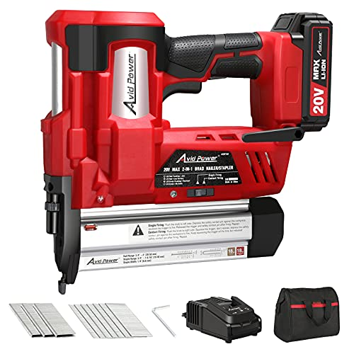 AVID POWER 20V 18 Gauge Nail/Staple Gun Battery Powered, 2 in 1 Cordless Brad Nailer Stapler with Battery&Fast Charger, 700 Nails&300 Staples, Single&Contact Firing for Home Renovation, Woodworking