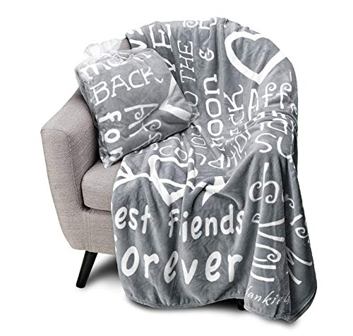 Blankiegram I Love You Throw Blanket The Perfect Caring Gift for Best Friends, Couples & Family (Grey)