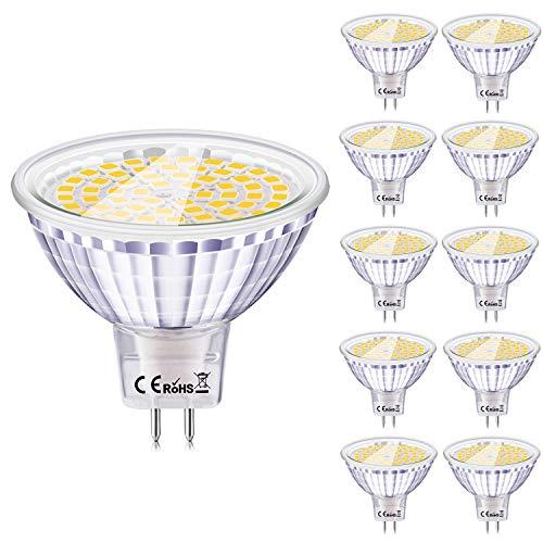 GU5.3 LED 12V, Eofiti 6W Ampoule LED MR16 Blanc Froid Equivalent à 50W Ampoule Halogène Lampe GU 5.3 LED 6000K Luminaire 540LM avec 120°Angle Faisceaux Spot MR 16 83Ra Non Dimmable Lot de 10