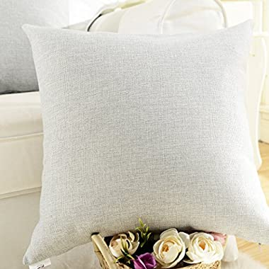 HOME BRILLIANT Decorative Lined Linen Euro Sham Pillow Cover for Couch, 20 x20 , Light Grey
