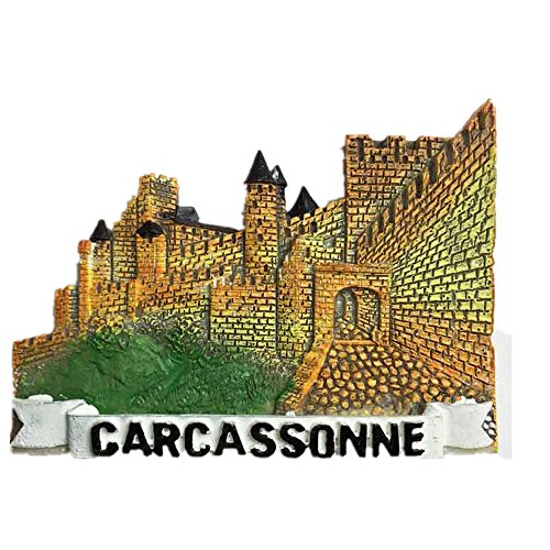 Aimant de réfrigérateur 3D Château de Carcassonne France Aimant souvenir Paris, décoration de maison et cuisine