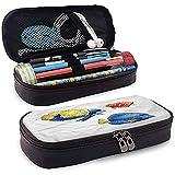 Estuche para lápices, Estuche de cuero para estuches, Estuche para lápices, Porta bolígrafo de gran capacidad Acentos tropicales para peces Acuario 4cmx9.2cmx20cm