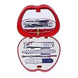 Juego de cortauñas para manicura, juegos de herramientas de manicura, kit de cortauñas de uñas, 4 piezas Set de manicura pedicura cortauñas Kit de herramientas (rojo)