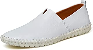 Men's Drive Loafers Casual Unclouded Easy Leather Hollow Breathable A Foot Pedal Boat Moccasins casual shoes (Color : White, Size : 50 EU)
