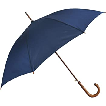 SoulRain Stick Umbrellas Automatic Open Windproof Wood J Handle Rain Umbrella Navy Blue for Men Women Arc Classic Unbreakable 48 Inch
