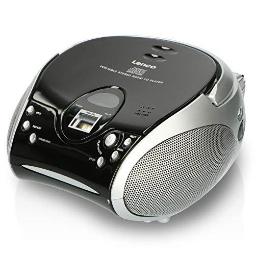 Lenco SCD-24 Boombox estéreo portátil con Reproductor de CD programable y Radio FM Negro