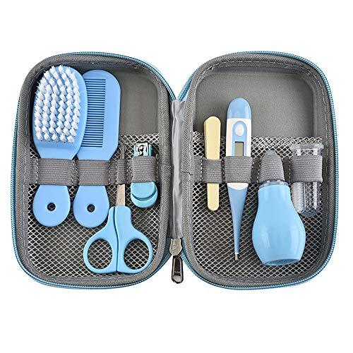 OurLeeme Baby Care Tool Kit, 8 in 1 Baby Kinder Nagelpflege Set mit Nagelknipsern, Schere, Nasenreiniger, Thermometer, Haarbürste, Maniküre (Blau)