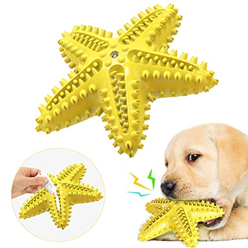 Dog Chew Toy for Medium Small Dogs Teething Puppies,Updated Design 3in1 Starfish Interactive Toothbrush Toy,Squeaky Non-Toxic Natural Rubber Toy,Fun to Chew, Dental Care, Training, Teething