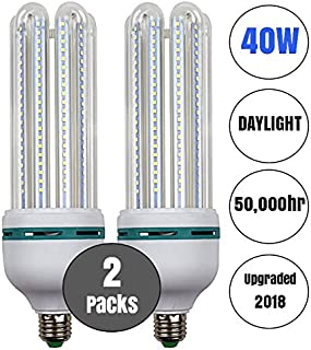 40W LED Corn Light Bulb Daylight 6500k Super Bright 400 Watt equiv. 2 Packs. Large Light Bulbs E26/E27 Cool White Barn, Workshop,Warehouse,Garage,Factory,Porch,Backyard BestCircle