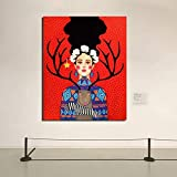 Sheep and girl poster vintage canvas painting print living room home decoration modern wall art poster picture frameless decorative painting Z55 60x80cm