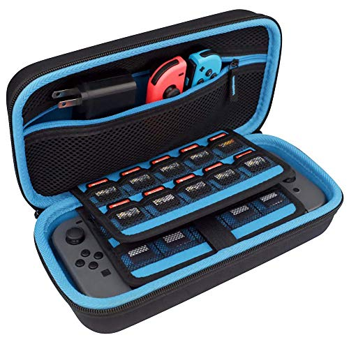 TAKECASE Hard Shell Carrying Case - Protective Case Compatible with Nintendo Switch - Fits Extra Controllers and 19 Game Cards - Includes Accessories Pouch for Adapter/Charger and Cables Blue/Black