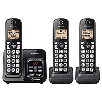 Panasonic KX-TG833SK Link2Cell Bluetooth with Talking Caller ID 3 Handset Cordless Phone  Renewed