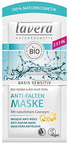 lavera Basis Sensitiv Gesichtsmaske Q10 ? Mildert Falten ? vegan ? Bio Pflanzenwirkstoffe ? Naturkosmetik ? Natural & innovative ? Gesichtspflege Maske 2er Pack (2 x 10 ml)