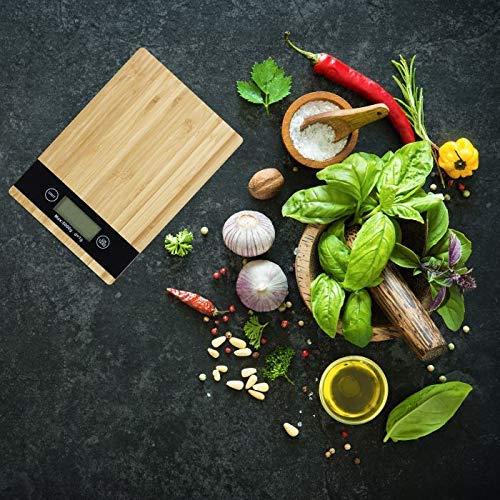 Balance de cuisine numérique bambou avec écran LCD, fonction tare - Charge maximale : 5 kg - Balance numérique - Largeur : 23 x 16 cm.