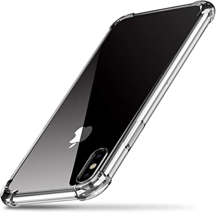 UGREEN Funda para iPhone X XS, Transparente Carcasa para iPhone X XS Absorcion de Choque Cojín de Esquina Parachoques + Marco Reforzado de TPU Suave para iPhone X XS 2018 - Transparente Blanco