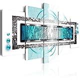 murando - Bilder Abstrakt 200x100 cm Vlies Leinwandbild 5 TLG Kunstdruck modern Wandbilder XXL Wanddekoration Design Wand Bild - Ornament Textur Perlen blau weiß Silber a-A-0003-b-o