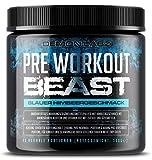 Pre Workout Beast - Pre Workout Booster mit Vitamin B12, was zur Verringerung von Müdigkeit & Ermüdung beiträgt - Mit Koffein, Beta Alanin und Glutamin (Blauer Himbeergeschmack - 306g)