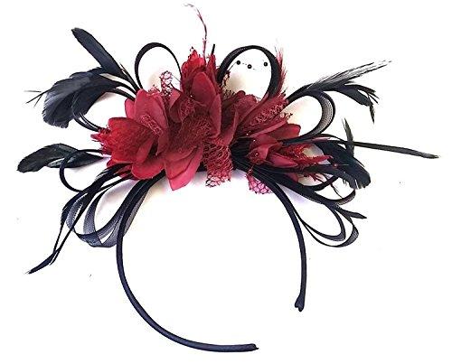 Caprilite Fashion Gris Plata y Naranja neta aro plumas Tocado para cabello diadema boda Royal Ascot de carreras