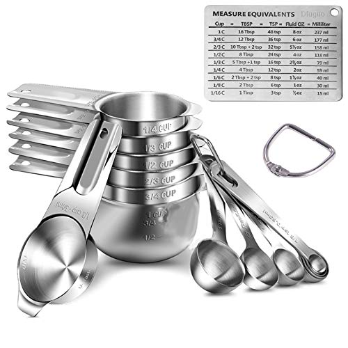 Measuring Cups Measuring Spoons 188 Stainless Steel Durable Stackable With Ring Connector Engraving Scale Kitchen Baking Cooking Measurement Weighing Tool(14 Piece)