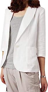 Women Blazer Coat Cotton Linen Blend Casual 3/4 Sleeve Suit Jacket Outwear