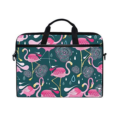 Ahomy Laptop-Tasche, 35,6 cm (14 Zoll), Tropische rosa Flamingo-Blumen, aus Segeltuch, Laptop-Tasche mit Schulterriemen für Damen und Herren