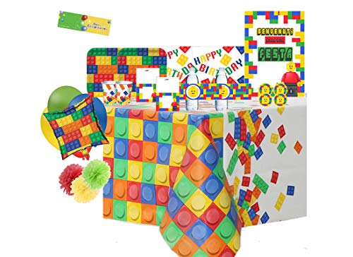 uni-que Kit N 70 Coordinato Compleanno Block Party - Building Blocks Party addobbi