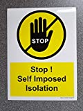 DAVE CHARLES DESIGNS Self Imposed Isolation Door Sign 150mm x 200mm Home Shop Vinyl Sticker Kitchen Safety Signs